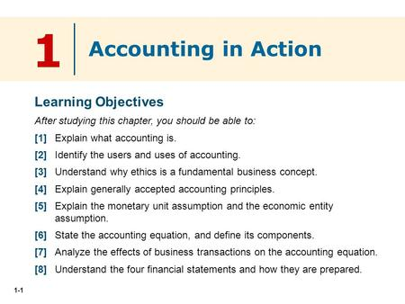 1 Accounting in Action Learning Objectives