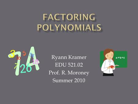 Ryann Kramer EDU 521.02 Prof. R. Moroney Summer 2010.