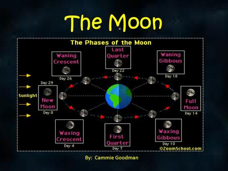 The Moon By: Cammie Goodman. Facing up to the Moon The moon orbits the Earth.  It takes about a month for the moon to complete its orbit.  Its orbit.