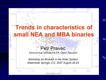 Trends in characteristics of small NEA and MBA binaries Petr Pravec Astronomical Institute AS CR, Czech Republic Workshop on Binaries in the Solar System.