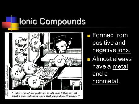 Ionic Compounds Formed from positive and negative ions. Almost always have a metal and a nonmetal.