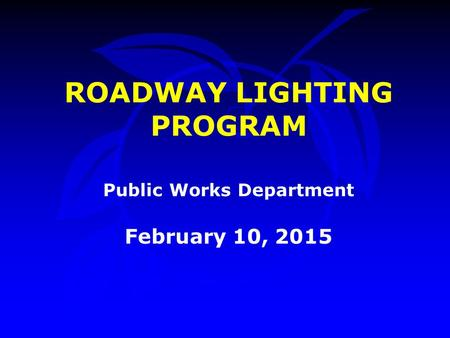 ROADWAY LIGHTING PROGRAM Public Works Department February 10, 2015.