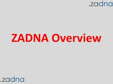 ZADNA Overview. Key Definitions ZADNA:.ZA Domain Name Authority DNS: Domain Name System ccTLD: country code Top Level Domain –.za.uk.ke gTLD: generic.