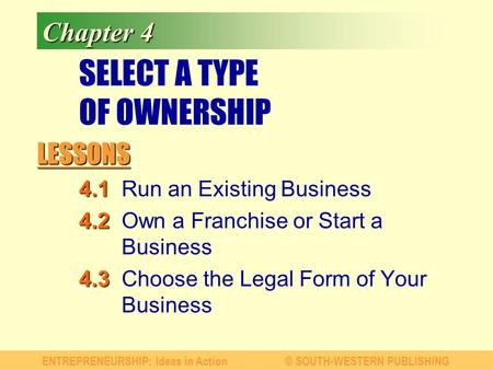 LESSONS ENTREPRENEURSHIP: Ideas in Action© SOUTH-WESTERN PUBLISHING Chapter 4 SELECT A TYPE OF OWNERSHIP 4.1 4.1Run an Existing Business 4.2 4.2Own a Franchise.