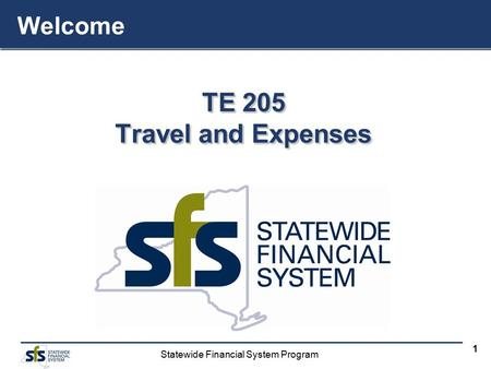 Statewide Financial System Program 1 TE 205 Travel and Expenses TE 205 Travel and Expenses Welcome.