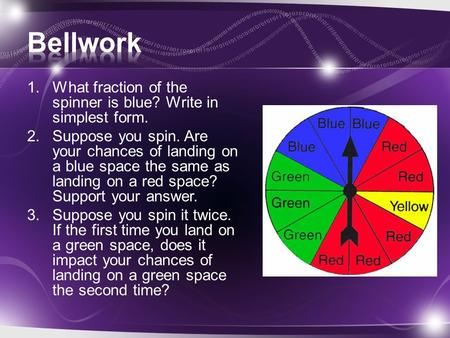 Bellwork What fraction of the spinner is blue? Write in simplest form.
