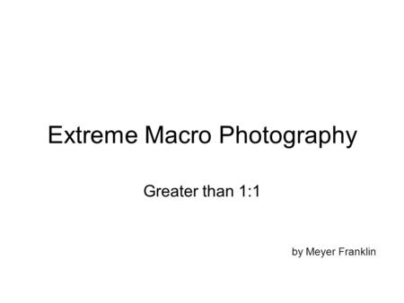 Extreme Macro Photography Greater than 1:1 by Meyer Franklin.