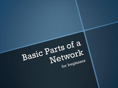 Basic Parts of a Network for beginners. Network Interface Cards A network interface card (NIC) is a circuit board or card that is installed in a computer.