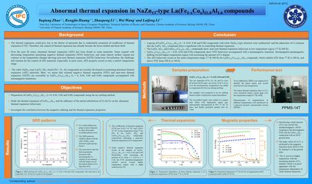 Abnormal thermal expansion in NaZn 13 -type La(Fe 1-x Co x ) 11.4 Al 1.6 compounds Results Yuqiang Zhao 1,2, Rongjin Huang 1,*, Shaopeng Li 1,2, Wei Wang.