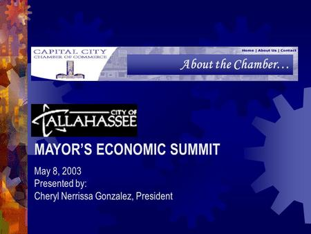 About the Chamber… MAYOR'S ECONOMIC SUMMIT May 8, 2003 Presented by: Cheryl Nerrissa Gonzalez, President.