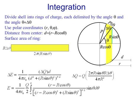 Divide shell into rings of charge, each delimited by the angle  and the angle  Use polar coordinates  r  Distance from center: d  r  Rcos.