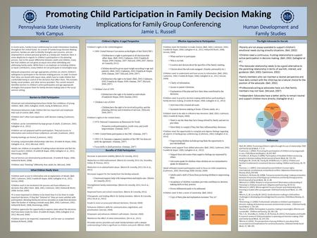 Promoting Child Participation in Family Decision Making Implications for Family Group Conferencing Jamie L. Russell Promoting Child Participation in Family.