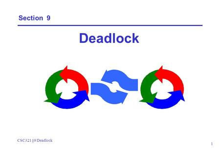 CSC321 §9 Deadlock 1 Section 9 Deadlock. CSC321 §9 Deadlock 2 Deadlock: four necessary and sufficient conditions  Serially reusable resources: the processes.