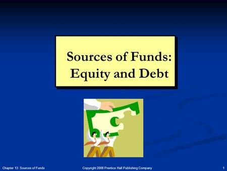 Copyright 2008 Prentice Hall Publishing Company 1Chapter 13: Sources of Funds Sources of Funds: Equity and Debt.