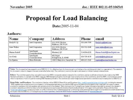 Doc.: IEEE 802.11-05/1065r0 Submission November 2005 Emily Qi et alSlide 1 Proposal for Load Balancing Notice: This document has been prepared to assist.
