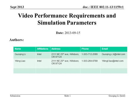 Doc.: IEEE 802.11-13/1159r1 Submission Sept 2013 Guoqing Li (Intel)Slide 1 Video Performance Requirements and Simulation Parameters Date: 2013-09-15 Authors: