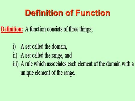 Definition of Function. Picture of a Function Definition of Function Illustration There is a domain, a range, and a rule. An arrow emanates from each.