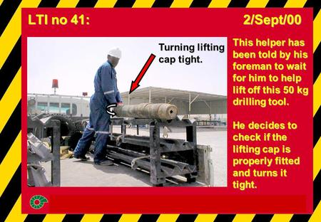 This helper has been told by his foreman to wait for him to help lift off this 50 kg drilling tool. He decides to check if the lifting cap is properly.