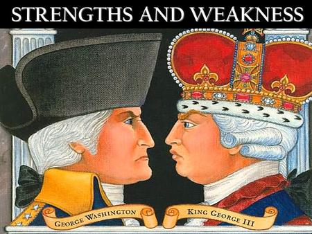 STRENGTHS AND WEAKNESS. NAMES….. - REBELS - PATRIOTS - YANKEES -BRITISH -ENGLISH-LOYALISTS-LOBSTERBACKS -RED COATS Colonists could mean either, but more.