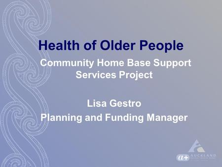 Health of Older People Community Home Base Support Services Project Lisa Gestro Planning and Funding Manager.