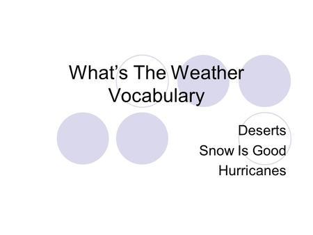 What's The Weather Vocabulary Deserts Snow Is Good Hurricanes.