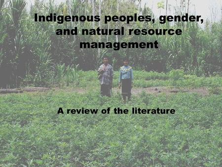 Indigenous peoples, gender, and natural resource management A review of the literature.