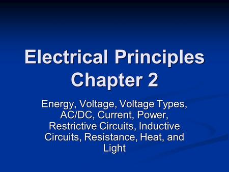 Electrical Principles Chapter 2