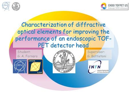 8/18/2015G.A. Fornaro Characterization of diffractive optical elements for improving the performance of an endoscopic TOF- PET detector head Student: G.