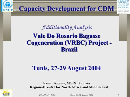 CD4CDM - RW4 Tunis, 27-29 August 2004 1 Capacity Development for CDM Additionality Analysis Vale Do Rosario Bagasse Cogeneration (VRBC) Project - Brazil.