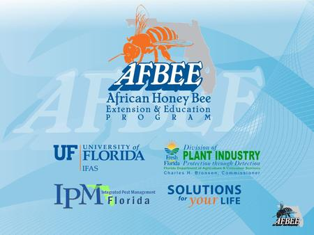 Living with African Bees in the Outdoor Workplace Michael K. O'Malley, AFBEE Program Coordinator, Bill Kern, UF Associate Professor of.