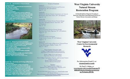 West Virginia University Natural Stream Restoration Program An Interdisciplinary Program Focusing on Research, Education, and Professional Services in.