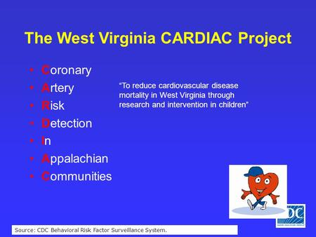 "Source: CDC Behavioral Risk Factor Surveillance System. The West Virginia CARDIAC Project Coronary Artery Risk Detection In Appalachian Communities ""To."
