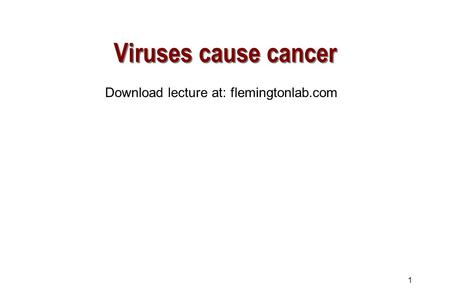1 Viruses cause cancer Download lecture at: flemingtonlab.com.