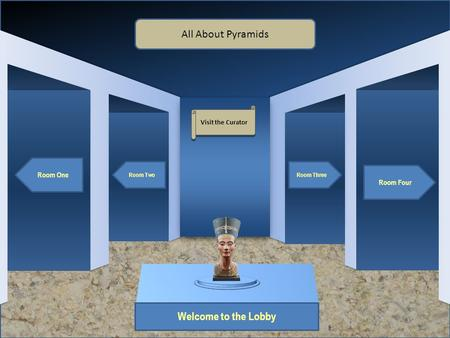 Museum Entrance Welcome to the Lobby Room One Room Two Room Four Room Three All About Pyramids Visit the Curator.