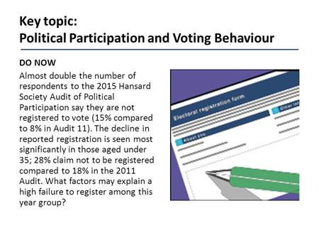 Key topic: Political Participation and Voting Behaviour