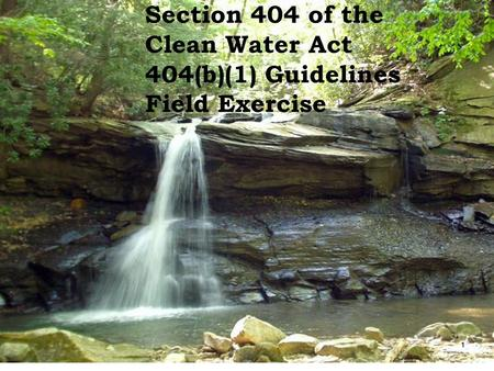 Section 404 of the Clean Water Act 404(b)(1) Guidelines Field Exercise 1.
