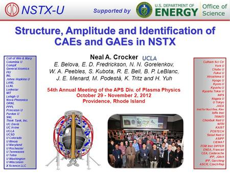 Structure, Amplitude and Identification of CAEs and GAEs in NSTX Neal A. Crocker E. Belova, E. D. Fredrickson, N. N. Gorelenkov, W. A. Peebles, S. Kubota,