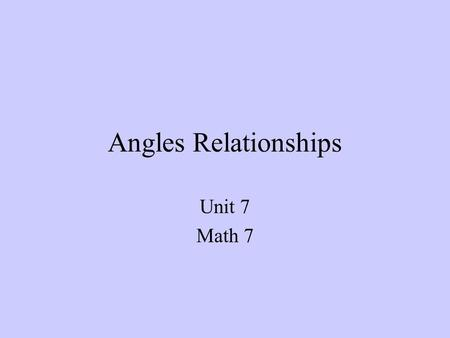Angles Relationships Unit 7 Math 7.
