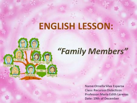 "Name:Ornella Silva Esparza Class: Recursos Didácticos Professor: María Edith Larenas Date: 19th of December ENGLISH LESSON: ""Family Members"""