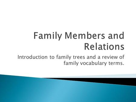 Introduction to family trees and a review of family vocabulary terms.
