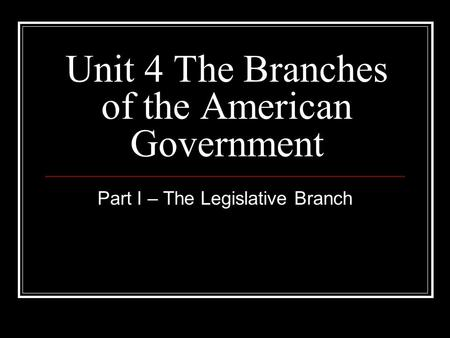 Unit 4 The Branches of the American Government