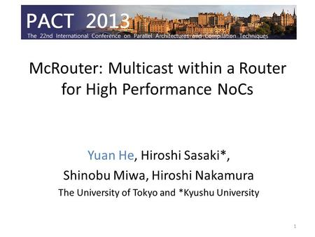 McRouter: Multicast within a Router for High Performance NoCs