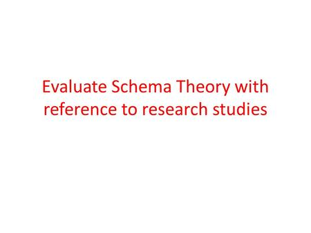 Evaluate Schema Theory with reference to research studies.