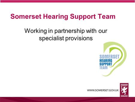 Somerset Hearing Support Team Working in partnership with our specialist provisions.