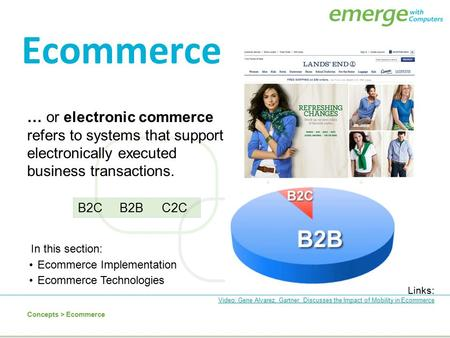 Ecommerce … or electronic commerce refers to systems that support electronically executed business transactions. B2C B2B C2C In this section: Ecommerce.
