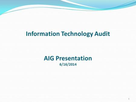 Information Technology Audit AIG Presentation 6/16/2014 1.