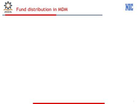 1 Fund distribution in MDM. 2 The centre will release fund to State. The State will receive the Fund from centre and will add its own share The State.