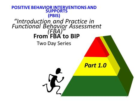"POSITIVE BEHAVIOR INTERVENTIONS AND SUPPORTS (PBIS) ""Introduction and Practice in Functional Behavior Assessment (FBA)"" From FBA to BIP Two Day Series."