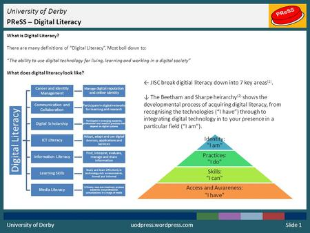 "University of Derby PReSS – Digital Literacy What is Digital Literacy? There are many definitions of ""Digital Literacy"". Most boil down to: ""The ability."