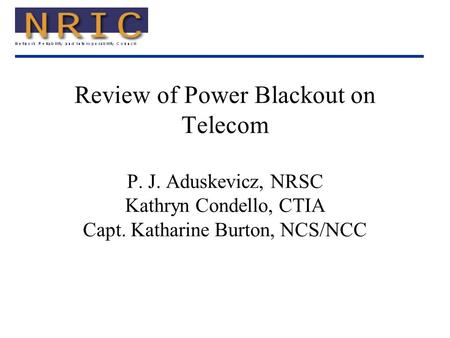 Review of Power Blackout on Telecom P. J